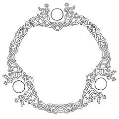 Vector illustration of Celtic knot circle frame black and white