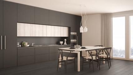 Modern minimal gray kitchen with wooden floor, classic interior design