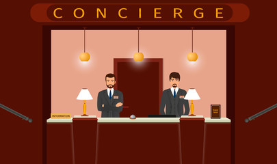 Concierge desk service. Front view of hotel concierge counter with two hotel employee.