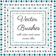 Hand drawn vector brushes with inner and outer corner tiles