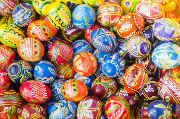 Colorful wooden Easter eggs hand-painted