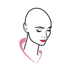 beautiful young woman with no hair