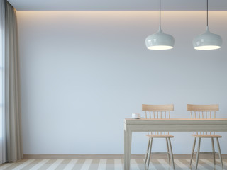 Modern white dining room minimal style 3D rendering Image.There white empty wall.Decorate room with light tone color and hidden light on ceiling