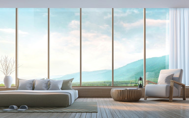 Modern bedroom with mountain view 3d rendering Image.Decorate wall with nature stone. There are large window overlooking the surrounding nature and mountains