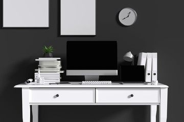 3D Rendering : illustration of interior Creative designer office desk with PC computer. laptops mock up working place of graphic design.light from outside. loft cement wall. clipping path included