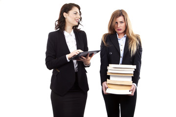 beautifull office secretaries with their E-Book and Books - E-book easy and heavy Books