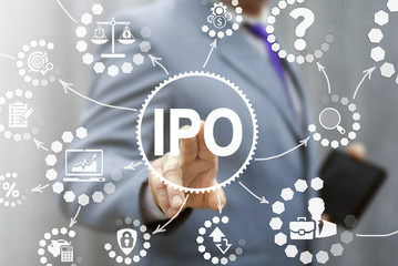 IPO (Initial Public Offering) finance business concept. Businessman touched ipo icon on virtual trading screen. Financial trade exchange investment and strategy technology.