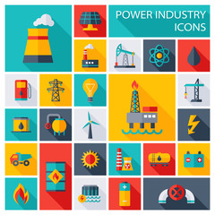 Power Industry Flat Square Icons - illustration