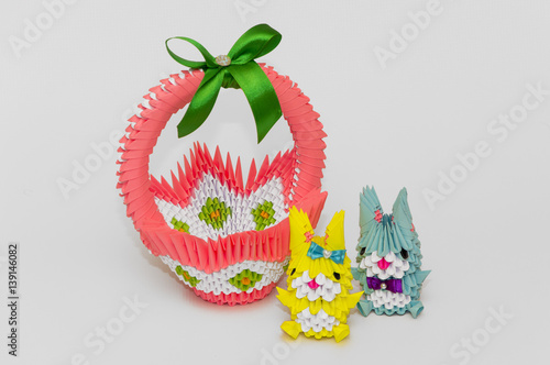 Red Yellow 3d Origami Easter Basket With Colored Eggs