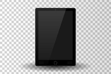 Black modern tablet PC isolated. Vector illustration