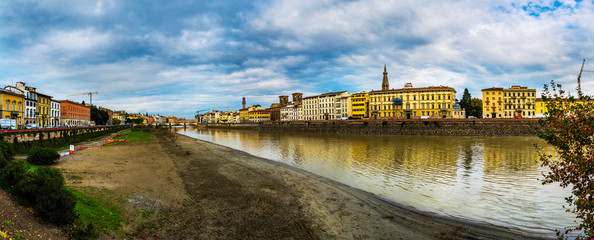 Panorama of Florence on background of Arno river
