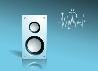 Music banner. 3d logo of big speaker.
