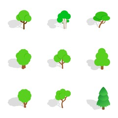 Green tree icons, isometric 3d style