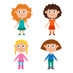 Young european girls body template: front. Cute cartoon girls is