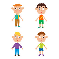 Young european boys body template: front. Cute cartoon boys isol