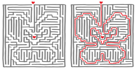Maze labyrinth game, the solution is a butterfly. Vector illustration.
