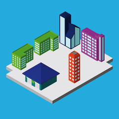 Set of Isometric City Buildings. Vector Illustration
