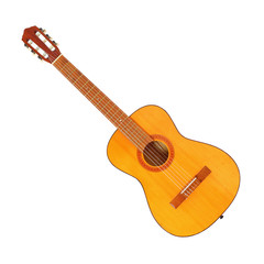 Acoustic guitar. Musical instrument isolated on white background.