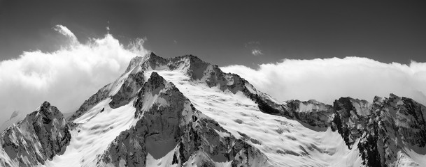 Fototapete - Black and white mountain panorama