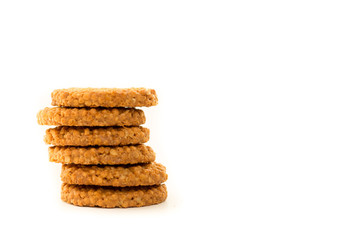 Delicious appetizing cereal cookies isolated on white background. Healthy food concept. Tasty food concept.