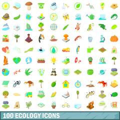 100 ecology icons set, cartoon style