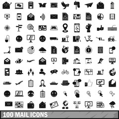 100 mail icons set in simple style