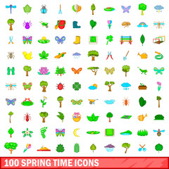 100 spring time icons set, cartoon style