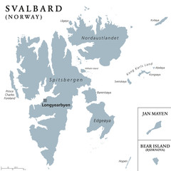 Svalbard, Bear Island and Jan Mayen political map. Norwegian archipelagos and island in the Arctic Ocean. Spitsbergen. Gray illustration with English labeling, isolated on white background. Vector.
