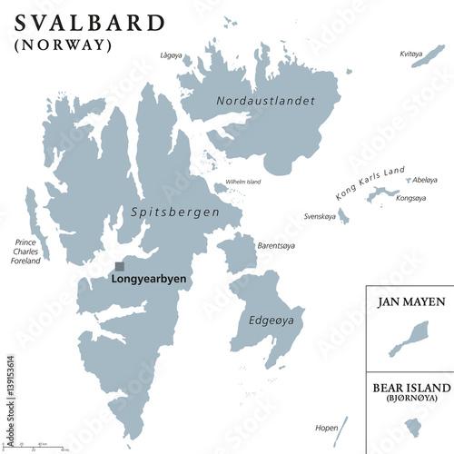Svalbard Bear Island and Jan Mayen political map Norwegian