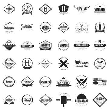 Huge set of vintage logo and badge