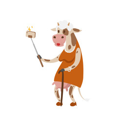 Funny picture cow photographer mamal person take selfie stick in his hand and cute animal taking a selfie together with smartphone camera vector illustration.