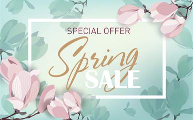 Obraz Delicate spring sale background with magnolia flowers. Template for design poster, banner, invitation, voucher. Vector illustration. - fototapety do salonu
