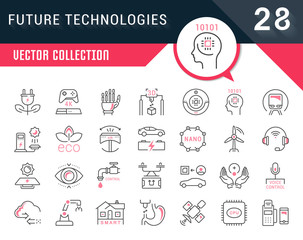 Set Vector Line Flat Icons of Future Technologies.