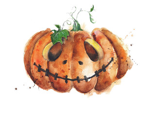 Pumpkin jack-o-lantern watercolor painting isolated on white. Scary greeting card.