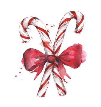 Candy cane with bow tie watercolor painting isolated on white