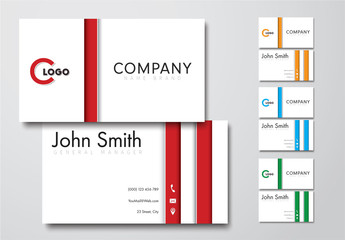 4 Striped Business Card Layouts