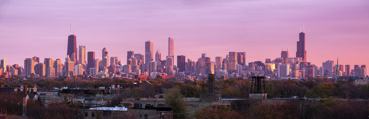 Fototapete - Colorful sunset in Chicago