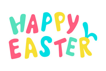Happy easter colored lettering with rabbit ears.