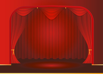 Open red curtains at the theater, opera and cinema on brilliant background pixels. Vector background EPS 10