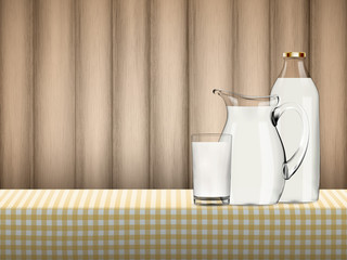 Illustration of natural organic milk in transparent glass, bottle and jug standing on a table covered by yellow checkered napkin in front of wood background, Dairy product vector concept.