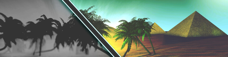 Panorama desert oasis with palm trees and pyramids headlines with a black stripe