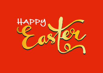 Happy Easter card. Easter hand lettering.