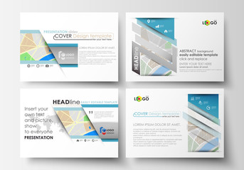 Set of business templates for presentation slides. Easy editable layouts. City map with streets. Flat design template, tourism businesses, abstract vector illustration.