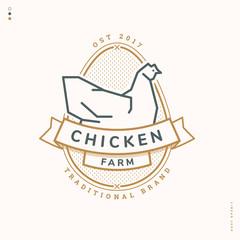 chicken farm linear logo
