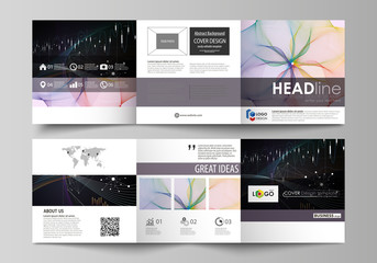 Business templates for tri fold square design brochures. Leaflet cover, vector layout. Colorful abstract infographic background in minimalist style made from lines, symbols, charts, other elements.