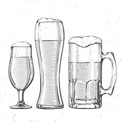 beer glasses on white