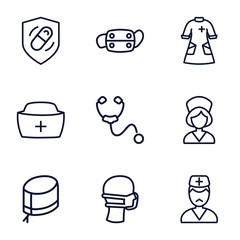 Set of 9 nurse outline icons