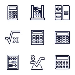 Set of 9 calculation outline icons