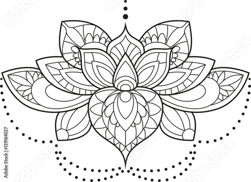Vector Illustration Of A Mandala Lotus Flower In Black And White