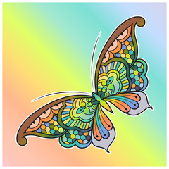 Vector illustration of a colorful decorated mandala butterfly